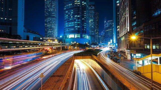 夜の香港の写真